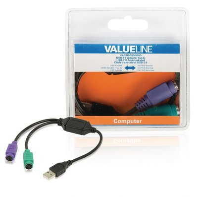 USB 2.0 Kabel USB A Male - 2x PS/2 Female 0.30 m Zwart