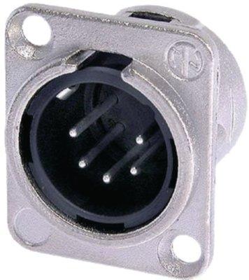 XLR Panel-mount male receptacle 5 Panel-mount male receptacle DL soldeer connectie nickel-plated