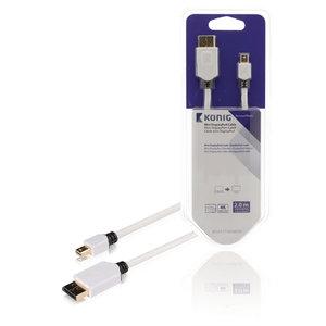 Mini DisplayPort Kabel Mini-DisplayPort Male - DisplayPort Male 2.00 m Wit