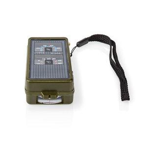 Kompas | 10-in-1-multitool | Thermometer | Hygrometer | Led-zaklamp | Vergrootglas | Liniaal | ABS | Zwart